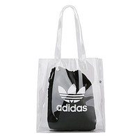 Adidas Nike Summer New Women Print Transparent Canvas Handbag Tote Shopping Bag Black