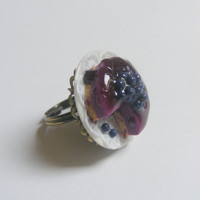 Scented or Unscented Blueberry Cheesecake Miniature Food Ring - Miniature Food Jewelry