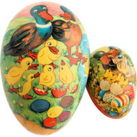 Two Paper Mache German Easter Eggs Vintage Candy Containers