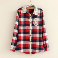 Long-Sleeve Lace Button Collared Knitted Shirt