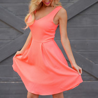 EVERLY Fit And Flare Dress - Neon Coral