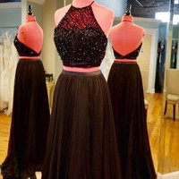 Black Halter Prom Dress,Two Piece Prom Dresses,Evening Dresses