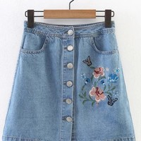 Casual Single Breasted Draped Pocket Embroidery A-Line Above Knee Skirt