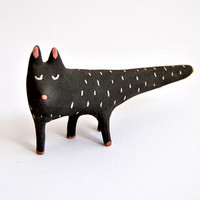 Black Cat Ceramic Miniature with Black Engobe and Sgraffito. Special Halloween. Ready To Ship
