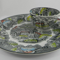 Scenic Black / Gray English Transferware Horse Farm Peony Flowers Dinner Plate & Cup Set