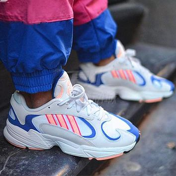Vsgirlss ADIDAS Yung-1 Retro Daddy Shoes Stripe Colorblock Sneakers White blue