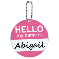 Abigail Hello My Name Is Round ID Card Luggage Tag