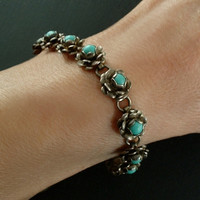 """OLD PAWN Vintage Native American Turquoise BRACELET Navajo Flower Sterling Silver Hallmarked, Size 6-3/8"""" c.1940s"""