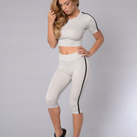 Major League Crop Leggings - Heather Grey/Black