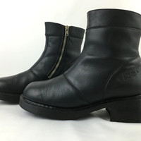 Vintage Dr. Martens Black Leather Boots Zip Up Riding Boot Made in England UK 8 US Men Sz 9 US Women Sz 10 Chunky Heel Steampunk Biker Boots