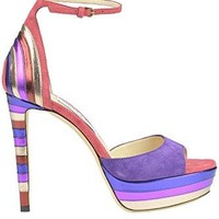 JIMMY CHOO Women's MCGLCAT03018E Multicolor Suede Sandals