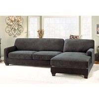 Stretch Pique Sectional with Side Chaise Cover