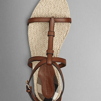 House Check Leather Espadrille Sandals