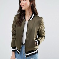 Brave Soul | Brave Soul Retro Bomber With Quilted Sleeves And Contrast Hem at ASOS