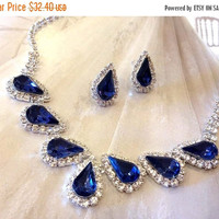 Wedding jewelry set ,bridesmaid jewelry set, Bridal necklace earrings, vintage inspired Navy blue rhinestone crystal jewelry set