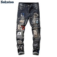 Sokotoo Men's patchwork ripped embroidered stretch jeans Trendy holes patches design slim straight denim pants