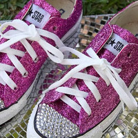 Custom Made HOT PINK GLITTER Converse with by AllThingsGlam