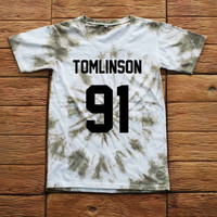 Louis Tomlinson One Direction Tie dye Shirt Tye Dye Shirt Black Shirt