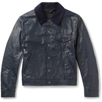 Acne Studios - Arno Slim-Fit Corduroy-Trimmed Leather Jacket