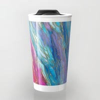 AGATE MAGIC PinkAqua Red Lavender, Marble Geode Natural Stone Inspired Watercolor Abstract Painting Travel Mug by EbiEmporium