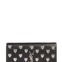 Saint Laurent Hearts Calfskin Leather Wallet on a Chain | Nordstrom
