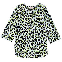 GB Girls 7-16 Leopard Tunic Top - Light Blue