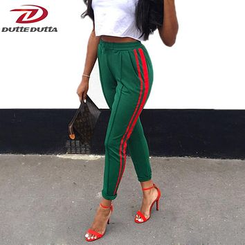 DutteDutta 2017 Women High Waist Harem Pants Autumn Elastic Casual Pants Female Workout Green Striped Sporting Pants Trousers