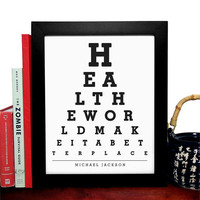 Michael Jackson, Heal The World Make It A Better Place, Eye Chart, 8 x 10 Giclee Art Print, Buy 3 Get 1 Free