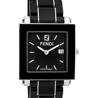 Women's Fendi Large Square Ceramic Bracelet Watch, 30mm - Black