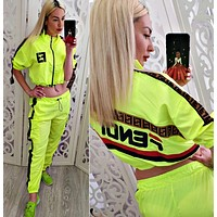 FENDI Newest Popular Women Personality Long Sleeve High Collar Top Pants Two-Piece Fluorescent Green