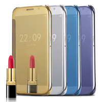 S6/Edge/Edge+ Luxury Gold Plating Mirror Flip Case For Samsung Galaxy S6 G9200 / S6 Edge /S6 Edge Plus Clear View Sensible Cover