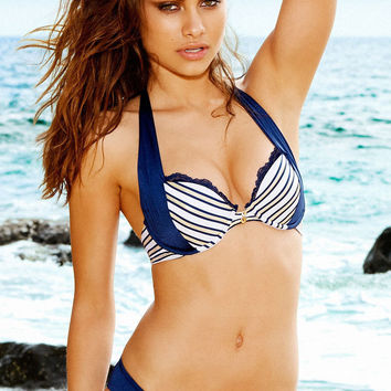 Blue Striped Lace Panel Bikini