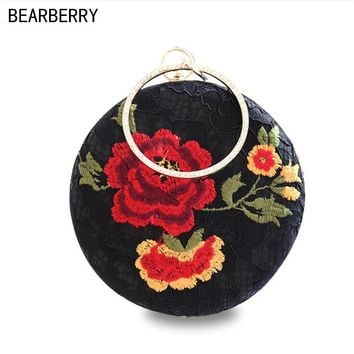 BEARBERRY 2017 high quality black lace embroidery rose flowers evening bags luxury round shaped wedding dinner bags clutch purse
