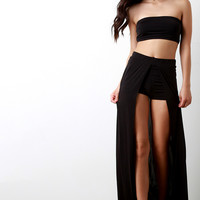 Solid Open Front Inside Shorts Maxi Skirt