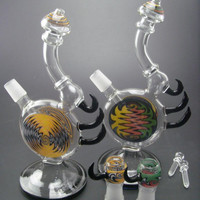 Heady colored glass bong water smoking pipe with inline perc Recycler Rigs