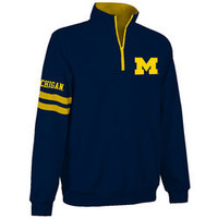 Michigan Wolverines Quarter Zip Sweatshirt Navy MCH9A680
