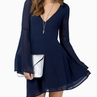 Bell Sleeve V Neck Chiffon Mini Dress