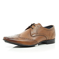 River Island MensBrown leather formal brogues