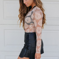 Midnight Sky Faux Leather High Waisted Mini Skirt