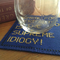 Golden line coaster Quote coaster Quotation of stock market summary Words coaster Fabric coaster cross stitch blue coaster