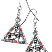 Pyramid Wedjet Eye of Horus Egyptian Pewter Unisex Costume Earrings and Necklace