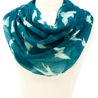 Bird & Butterfly Print Infinity Scarf by Charlotte Russe - Teal