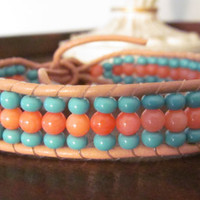 Bamboo Coral and Glass Turquoise Beaded Leather Bracelet by ma1010