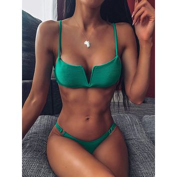 Textured Top With High Cut Bikini Set