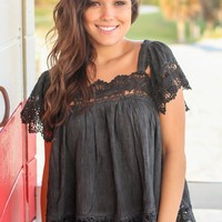 Black Top with Crochet Detail