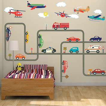 Car Wall Decals, Emergency Vehicle Decals, Airplane Decals, 15 ft Gray Straight & Curved Road Wall Stickers, Removable Reusable Wall Decals