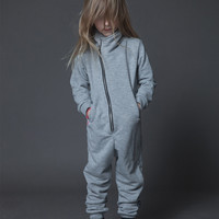 Nununu French Terry Biker's Overall in Heather Grey - NU0819