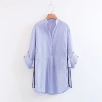 Womens Tops And Blouses Fashion Spliced Long Sleeve Shirts Casual Striped Long Autumn Blouses