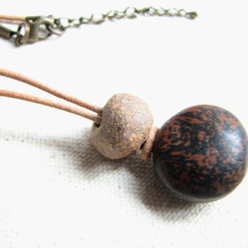 Womens Seabean Necklace / Rustic Boho Hamburger Seed Sea Bean Jewelry with Clay Bead on Leather, Mucuna Sheeps Eye Seed