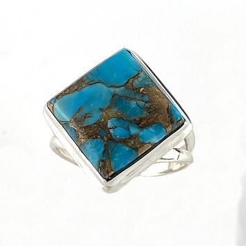 Copper Turquoise Diamond Sterling Silver Ring